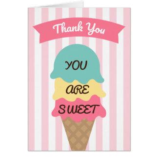 Süßes Eiscreme-soziales danken Ihnen zu kardieren Karte
