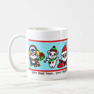 Süßes Kawaii Weihnachtscharaktermuster Kaffeetasse