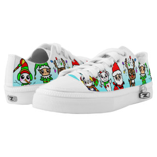 Süßes Kawaii Weihnachtscharaktermuster Niedrig-geschnittene Sneaker