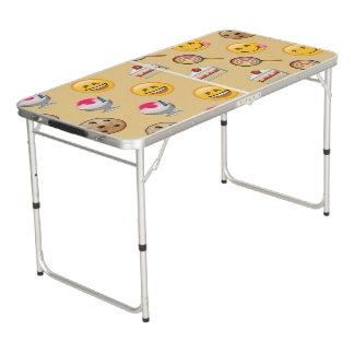 Süßes Leckereien Emoji Muster Beer Pong Tisch