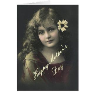 Süßes Mädchen mit Blume Karte