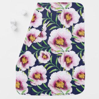 Süßes rosa Vintages Blumenmuster der blauen Babydecke