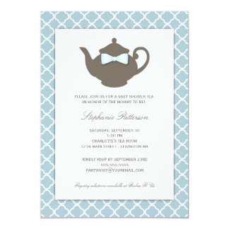 Süßes Teekanne-Baby-Duschen-Tee-Party des Blau-| 12,7 X 17,8 Cm Einladungskarte