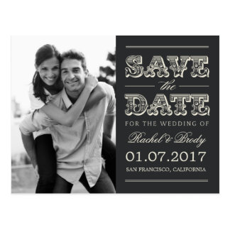 Süßes Vintages Save the Date Wedding - Holzkohle Postkarte
