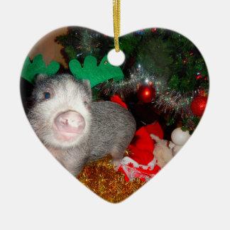 Süßes Weihnachtsminischwein-Herz-Verzierung