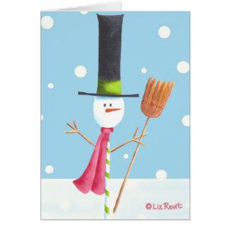 Süßigkeit-Stock Schneemann mit Besen - durch Liz Karte
