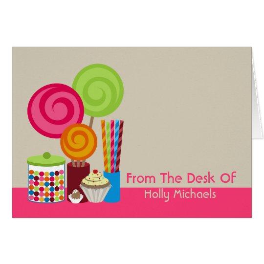 Süßigkeit u. Süßigkeiten personalisiertes Notecard Mitteilungskarte