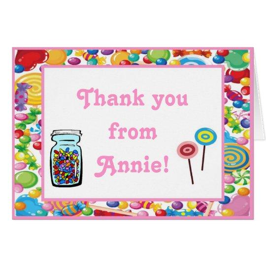 Süßigkeits-Geschäfts-Geburtstag danken Ihnen Mitteilungskarte