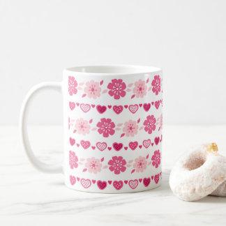 Süßigkeits-Herz-Blumen-Muster des Valentines Tages Tasse