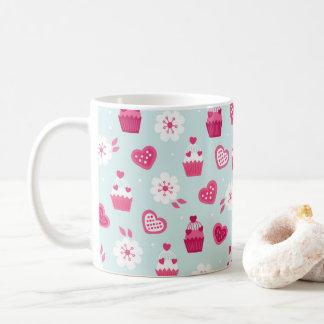 Süßigkeits-Herz-Kuchen-Blumen des Valentines Tages Tasse