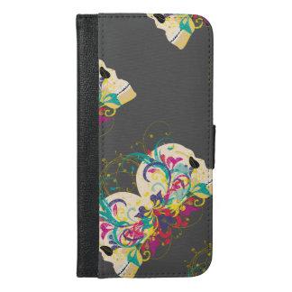 Süßigkeitsschädel, mit Blumen, Mandalaartversion 3 iPhone 6/6s Plus Geldbeutel Hülle