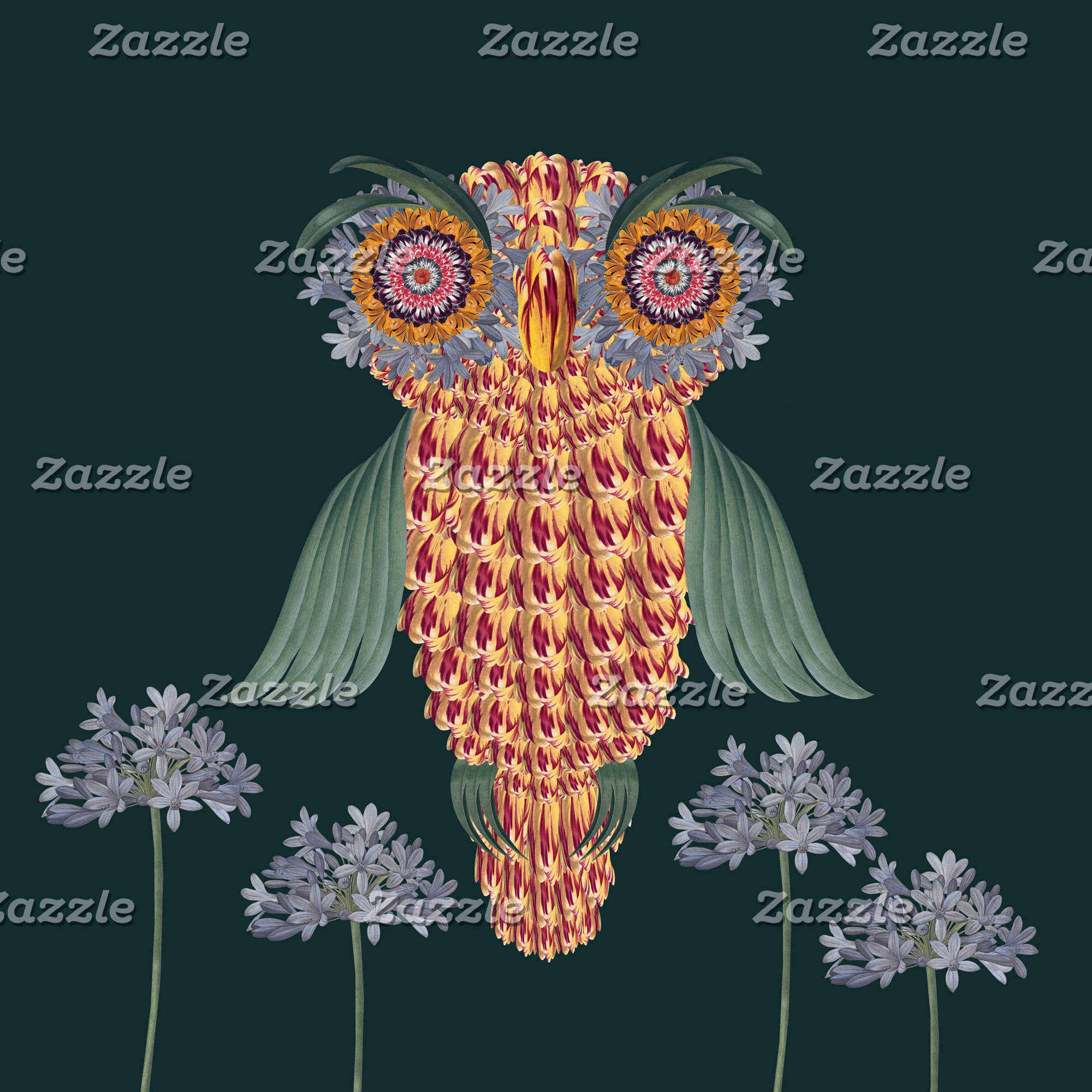 The Owl of wisdom and flowers