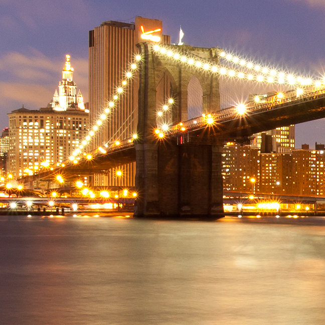 Brooklyn Bridge and Manhattan at Night.