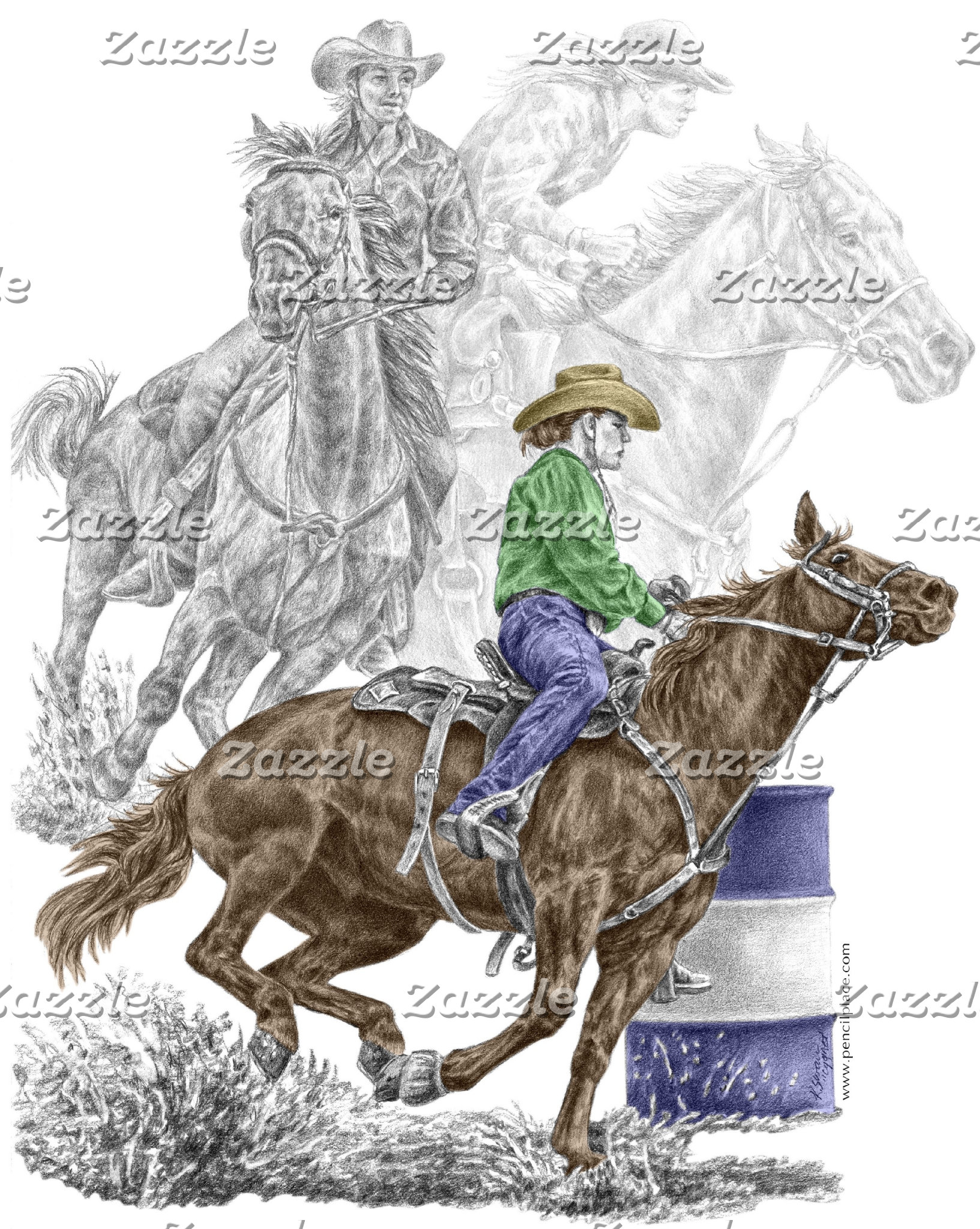 Rodeo Barrel Race Art