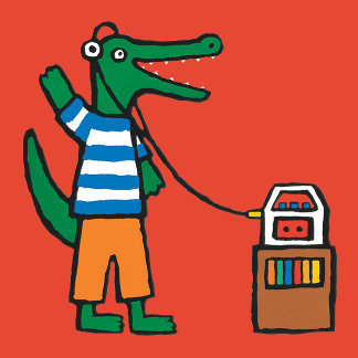 Cool Crocodile Listens to Music