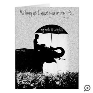 Elephant Rain Valentines Card