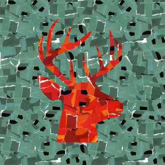 Deer head silhouette mosaic