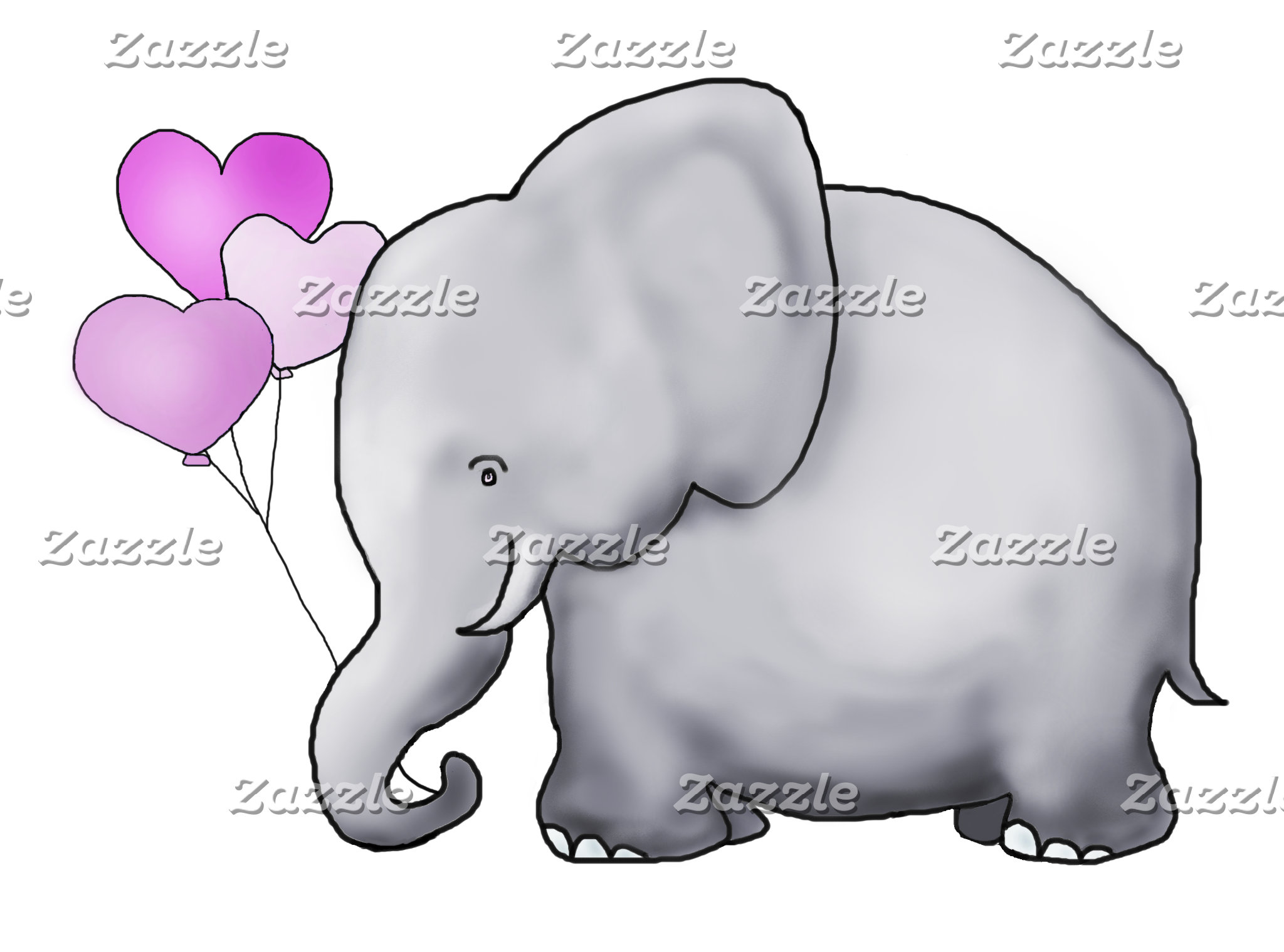 Heart Balloon Elephant - Pink Baby Shower