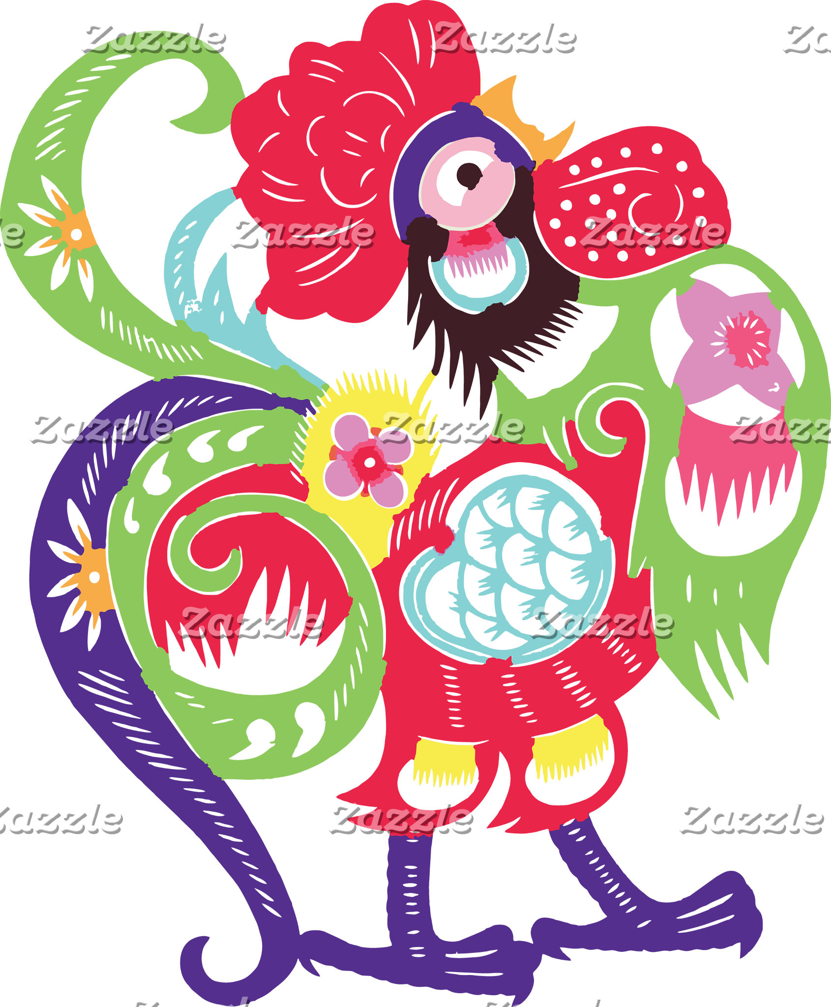 Chinese Zodiac Rooster Papercut