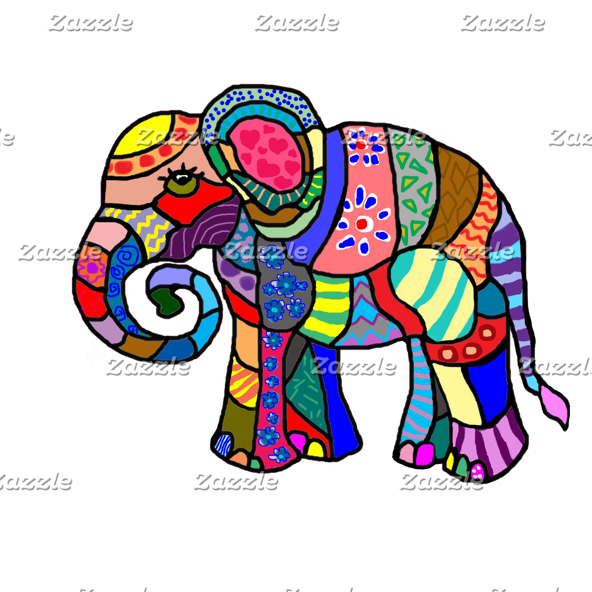 Colorful Folk Psychedelic Elephants