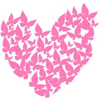 Butterfly heart pink love