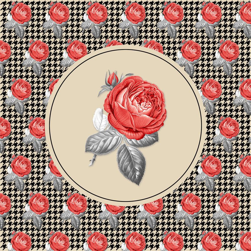 Vintage Roses and pied-de-poule collage