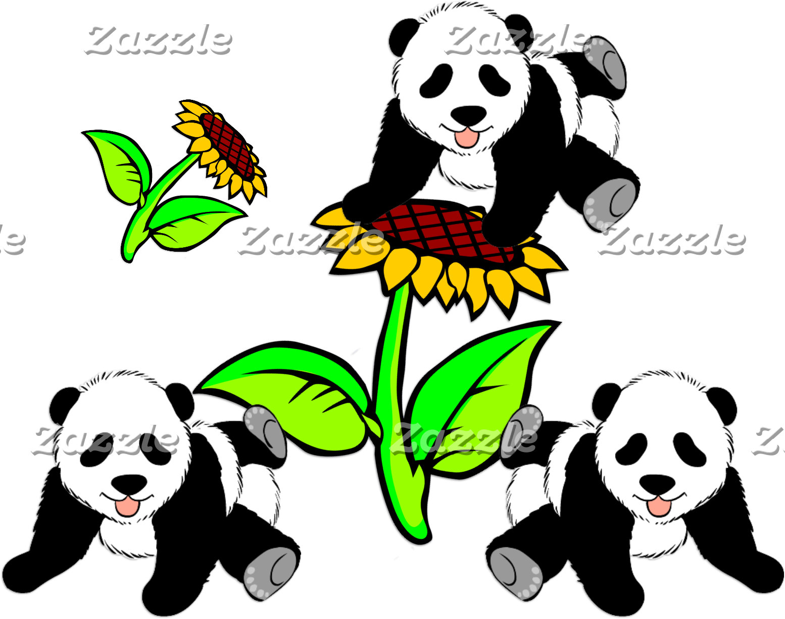 Adorable Sunflower Panda Bears