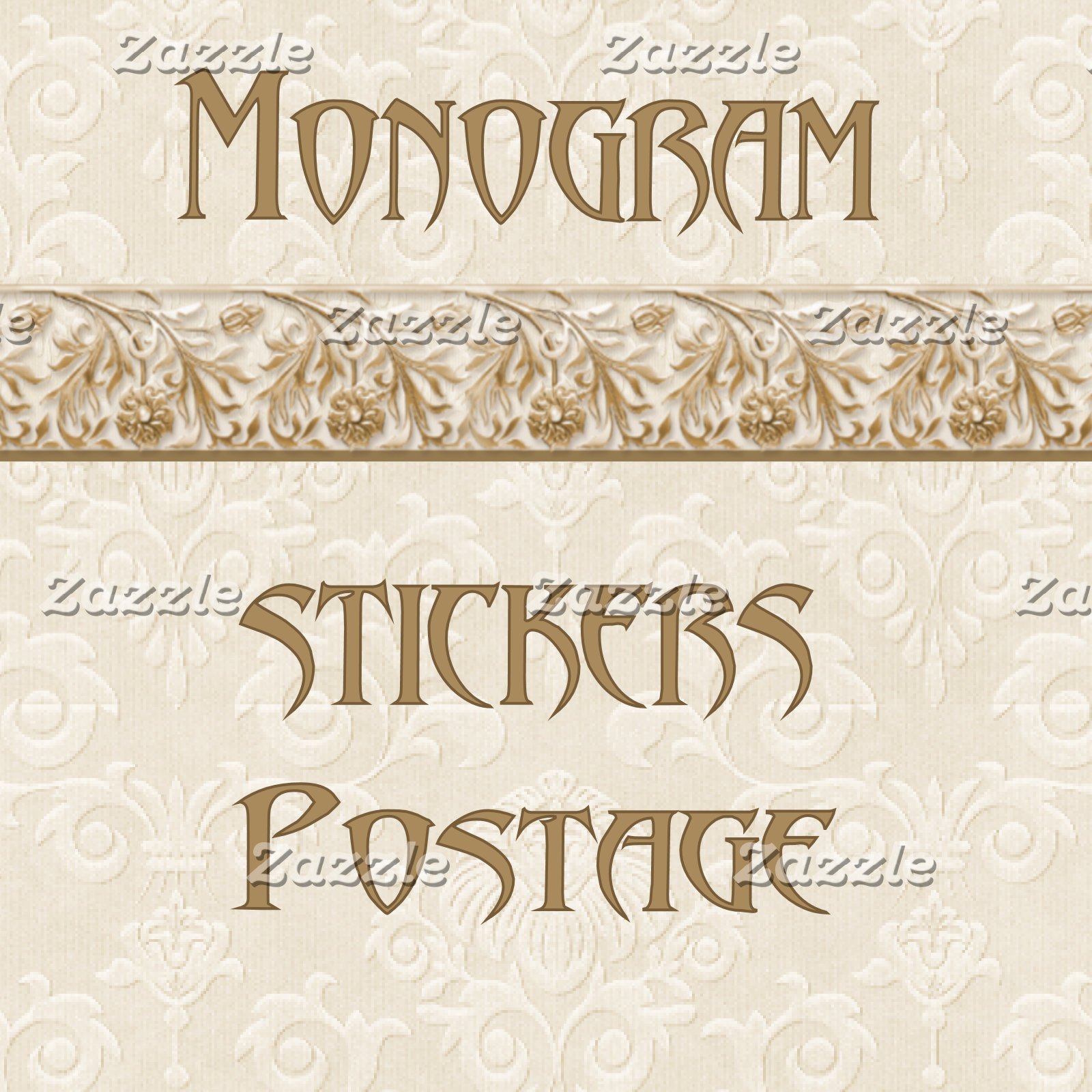 3. MONOGRAM - Stickers-Postage