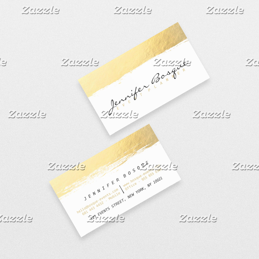 Chic white and gold faux foil modern brush stroke