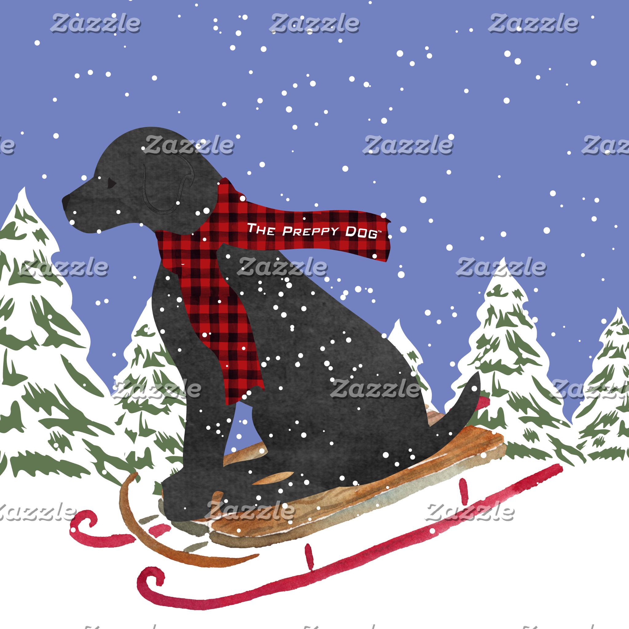 Black Lab Winter Preppy Dog Sledding