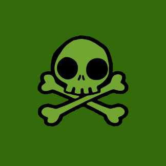 Cute Green Skull And Crossbones