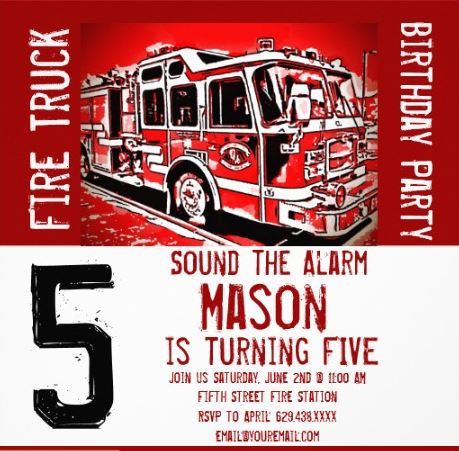 Fire Truck Birthday Party Invitations