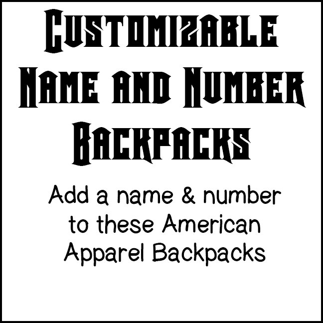 Name & Number Backpacks