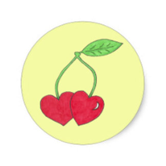 Twin Cherries with Heart Shape