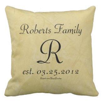 Faux Leather Monogram Anniversary Throw Pillows