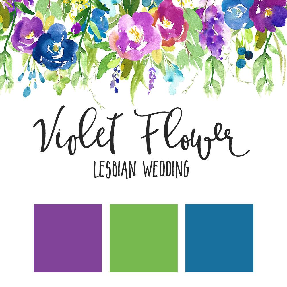 Violet Flower Lesbian Wedding