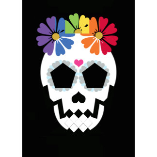 Skull With Flowers (blank greeting card)