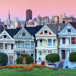 """Famous row of houses known as """"Painted Ladies"""""""