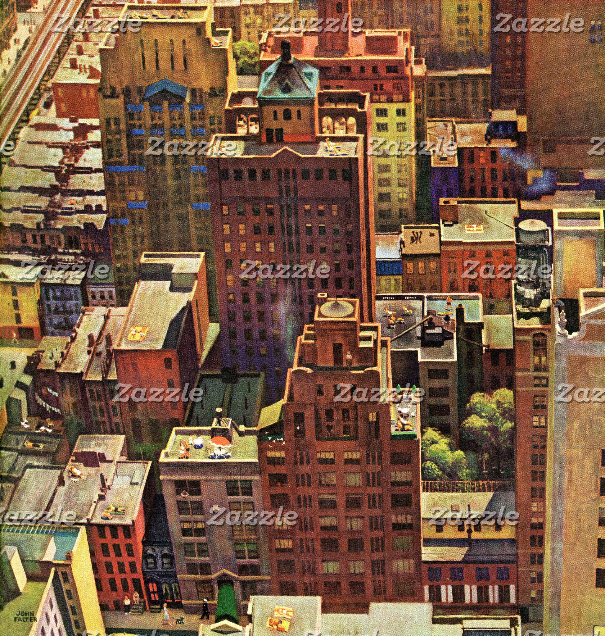 Bird's-Eye View of New York City by John Falter
