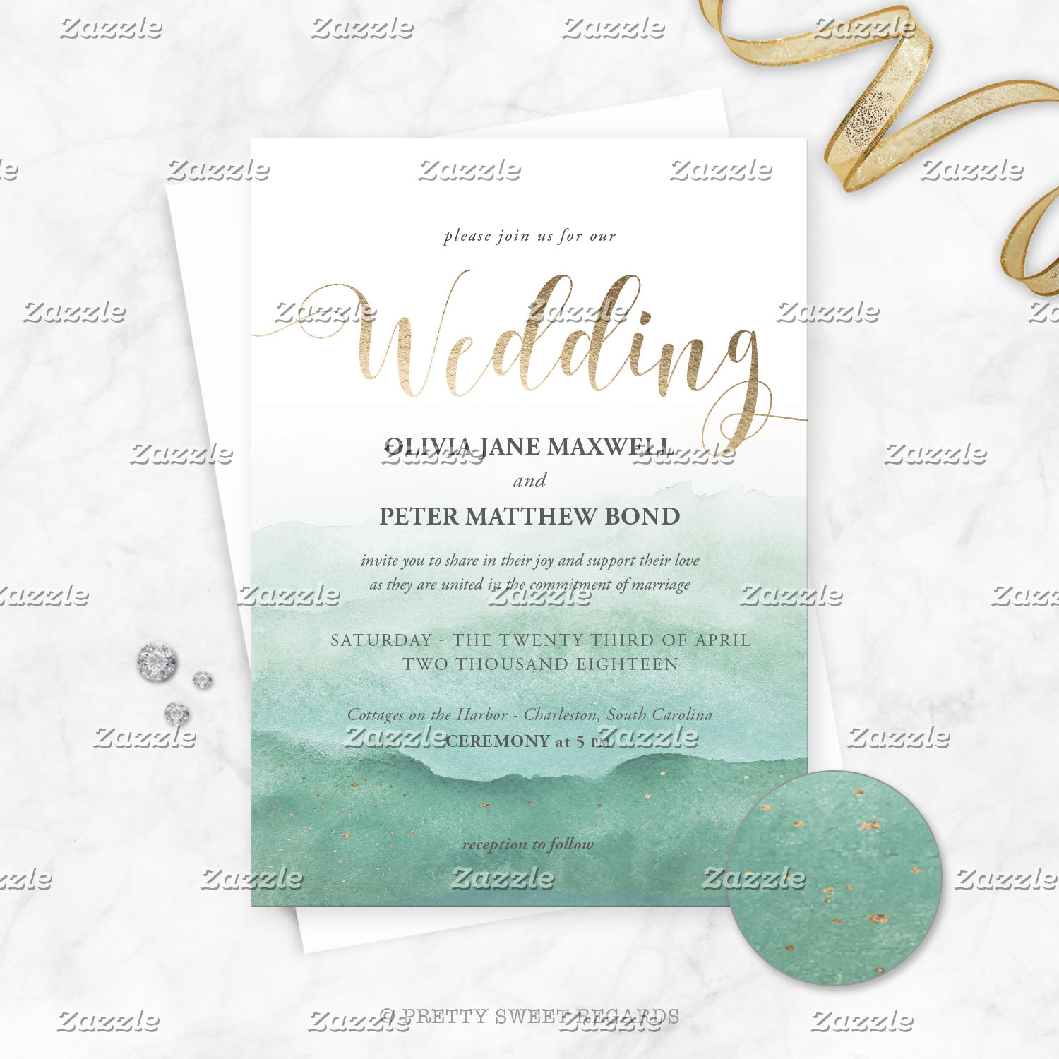 Wedding Invitations Watercolor Foil