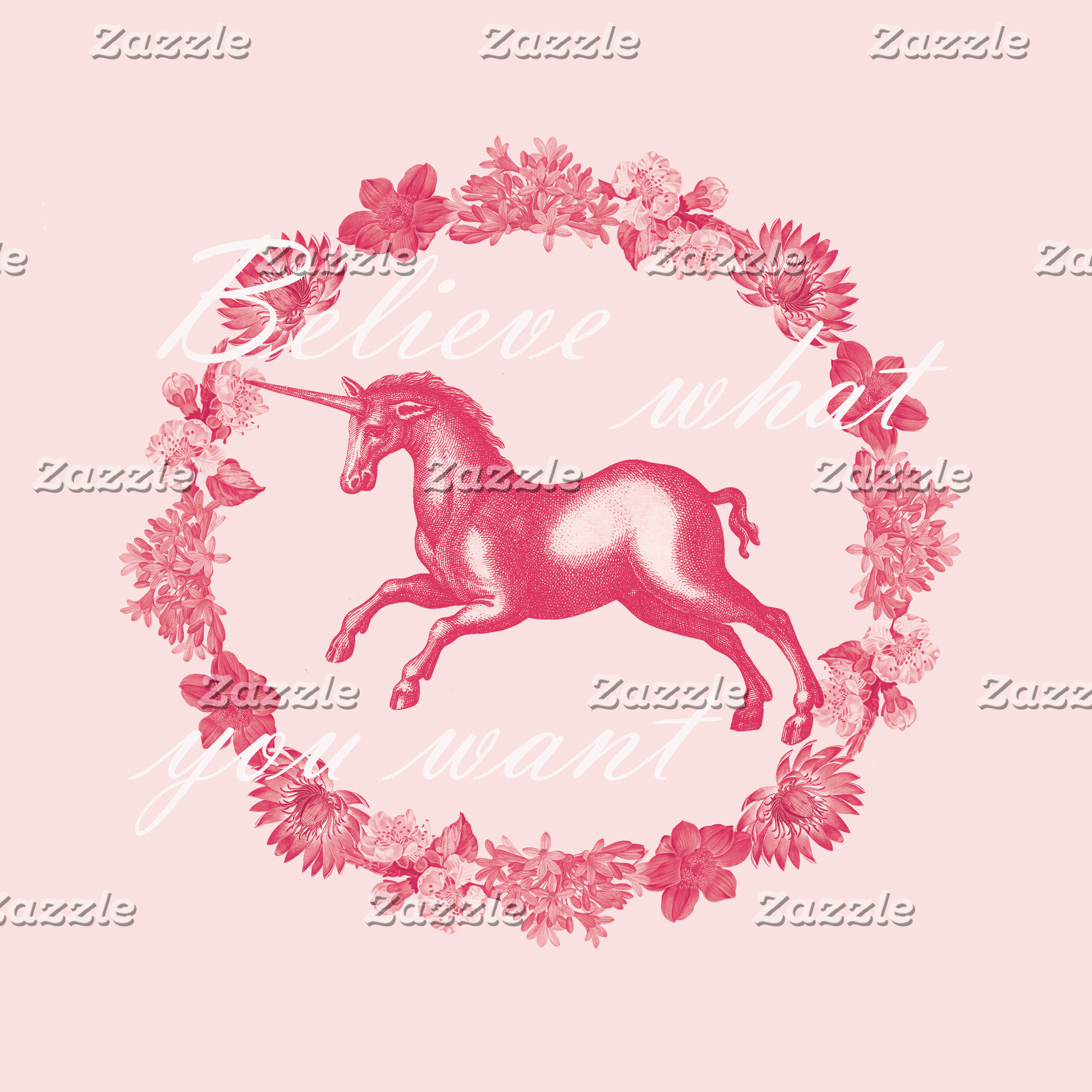 Pink unicorn and flowers