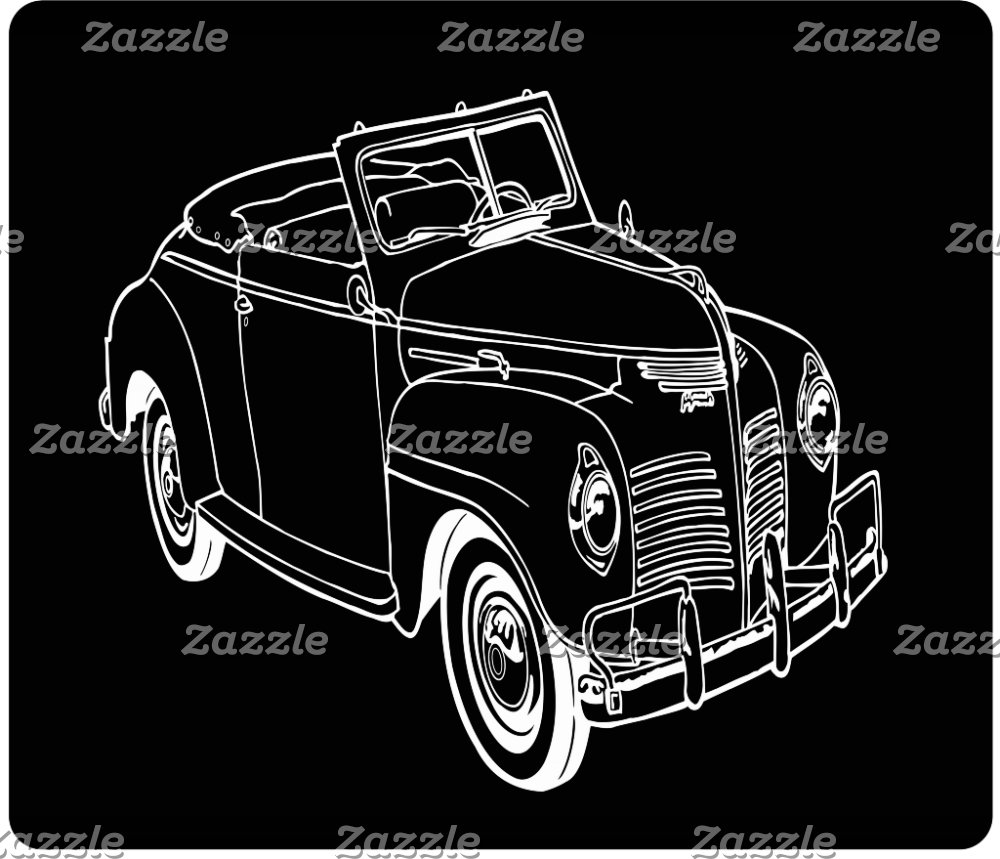 Vintage cars ink drawings