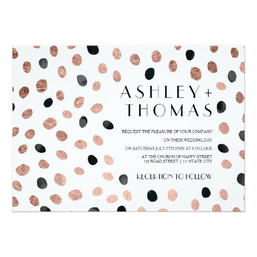 Rose gold black watercolor modern polka dots