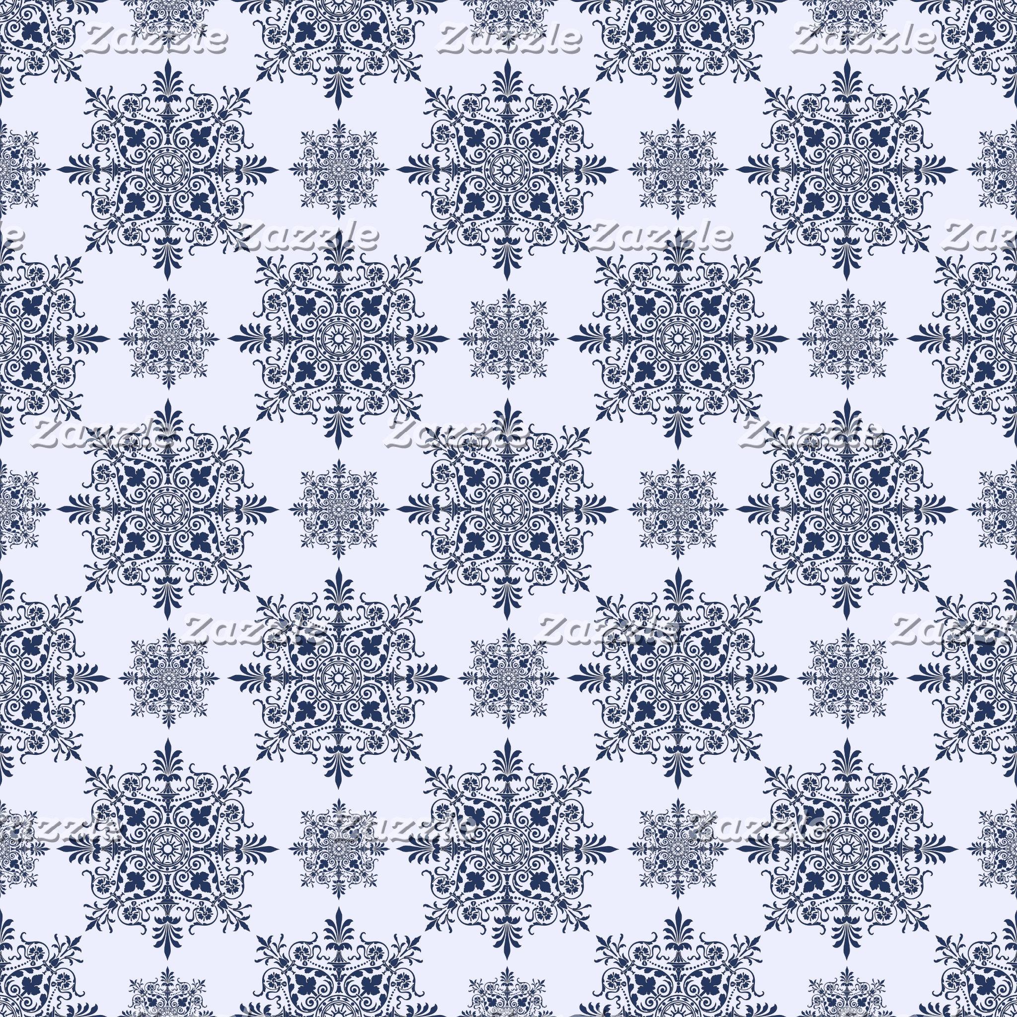 Blue Snowflake Damask