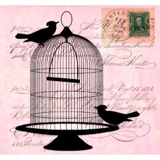 Pink Vintage Bird