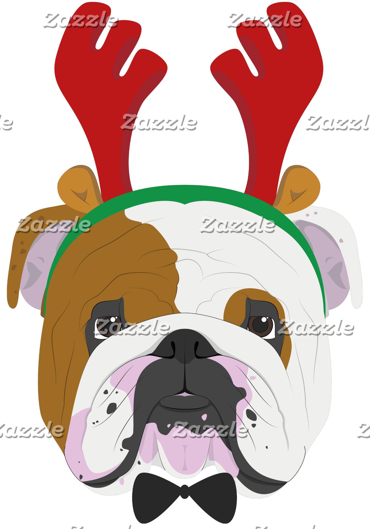 English Bulldog Rudolph Reindeer