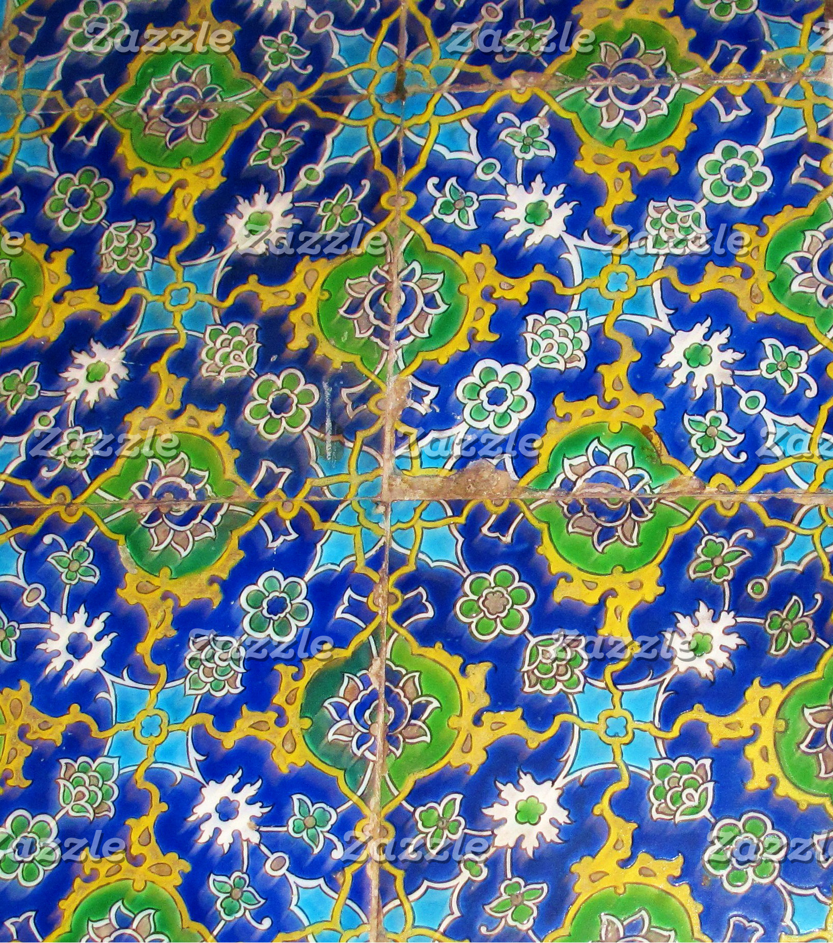 Vintage Green, Yellow and Blue Tile