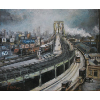 Vintage New York City Brooklyn Bridge Painting