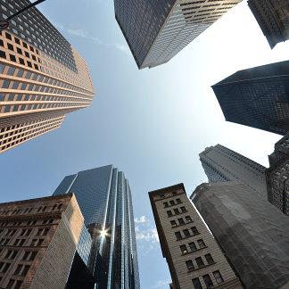Fish-eye lens of building, Boston, US