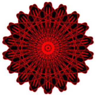 Abstract Red & Black Gear-Like Shape